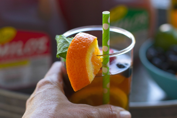 Sparkling tea cocktail in glass