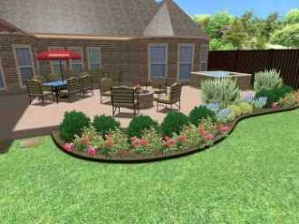 Frisco outdoor design project, outdoor kitchen, backyard patio, landscape plant bed