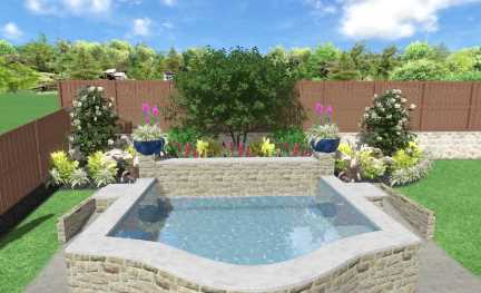 Pool Landscaping Ideas for Small Backyards, image has a water feature, landscaping plant beds, Crape Myrtle tree and hardscaping.