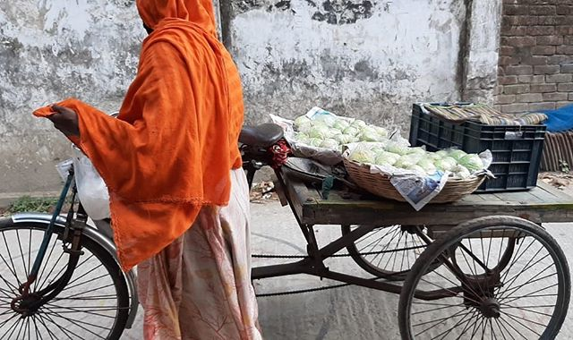 When you can't venture out, street-hawkers selling a wide variety of fresh food door to door are a lifeline. Photo sent by dear friend Augustine In South West Bangladesh