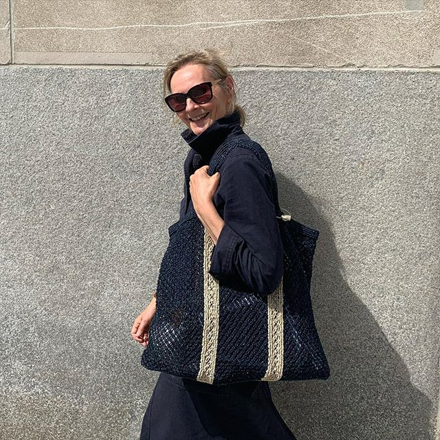 Quel chic! Jute macramé large indigo shopper now available from website