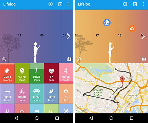 Interfaces de l'application LifeLog pour SWR12