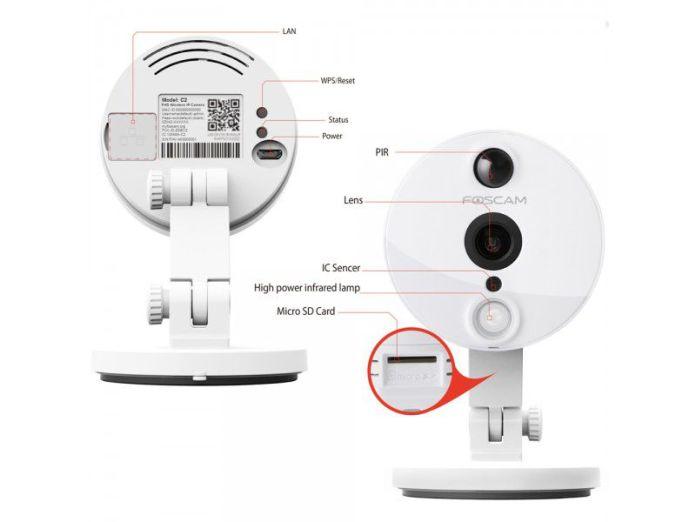 Détails de la caméra connectée IP de surveillance intérieure Foscam C2