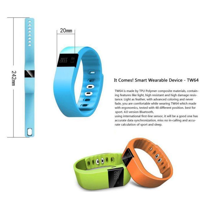 Dimensions du bracelet connecté Tera TW64