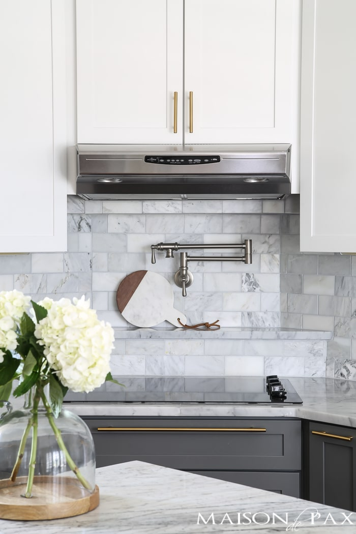 Liven up any room with this Ocean Honed Marble Mosaic. Gray And White And Marble Kitchen Reveal Maison De Pax