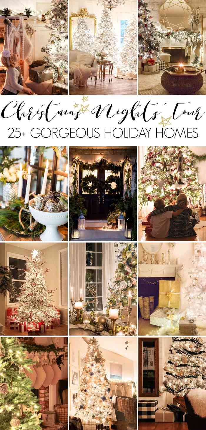 Christmas nights tour hosted by maisondepax.com: gorgeous Christmas lights at night in these 25+ home tours #christmasnightstour #holidayhometour #christmaslights