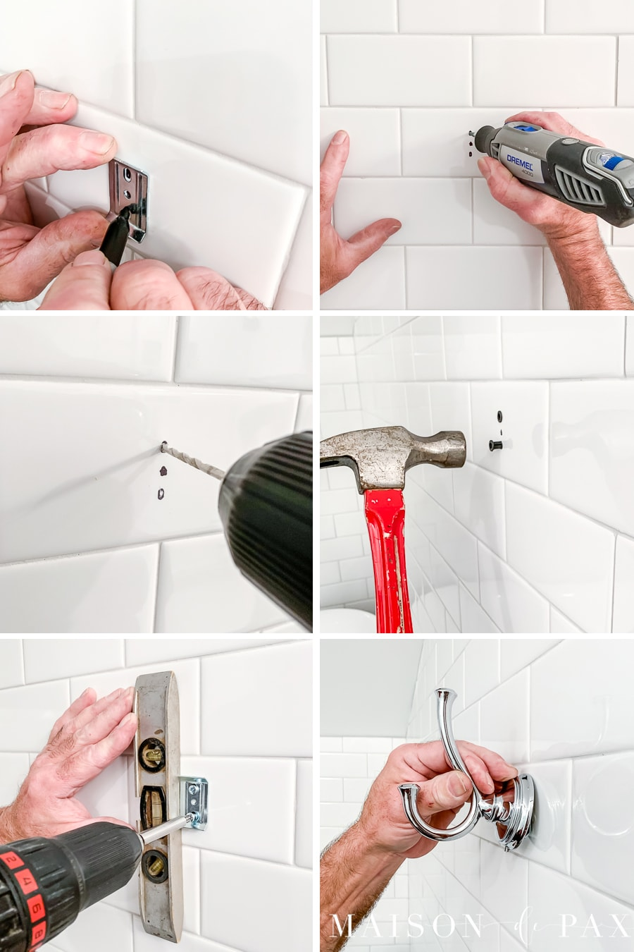 how to drill into tile to hang things