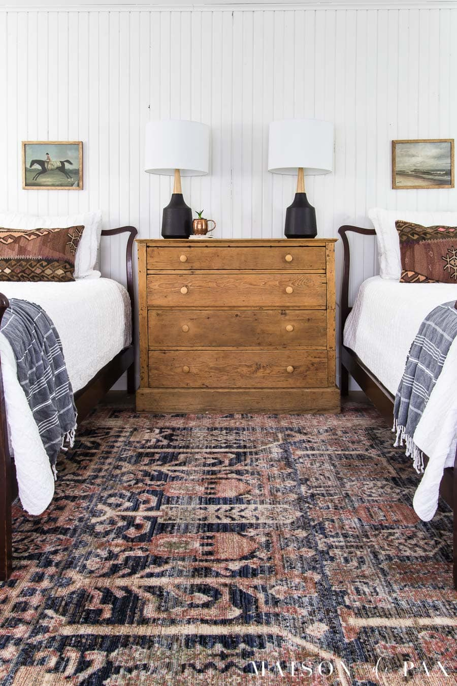 Rustic Modern Bedroom Makeover With Twin Beds Maison De Pax