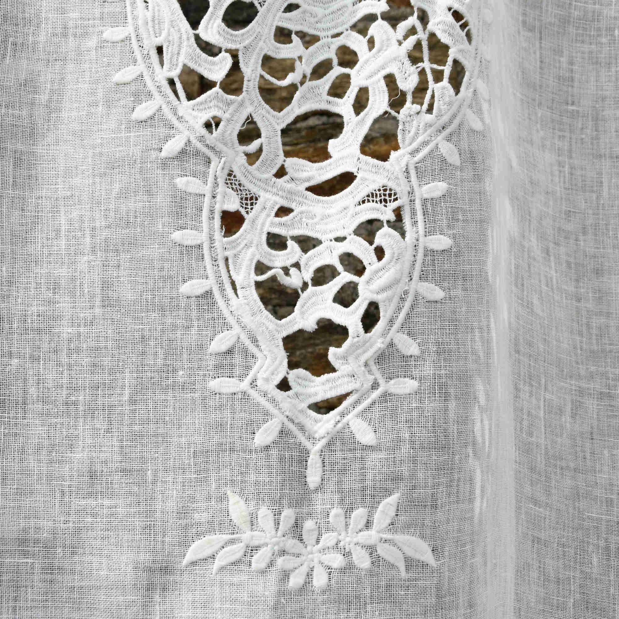 rideau paris gaze de lin lave blanc bords noirs maison d ete