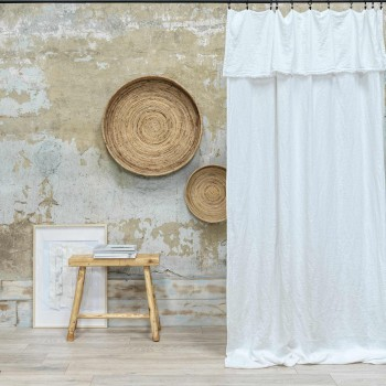 linen washed milk frayed curtain 140x290 cm