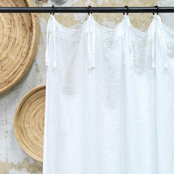 rideau en gaze de coton blanc avec nouettes 140x270 cm