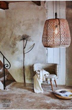 lampadario fatto con un cesto