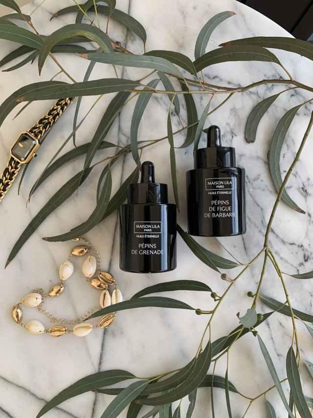 Huile de pépins de figue de barbarie bio et huile de pépins de grenade bio Maison Lila. Soin cosmétique naturel et bio. Soin visage et cheveux.