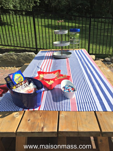 patriotic decor, red, white, and blue, picnic, party