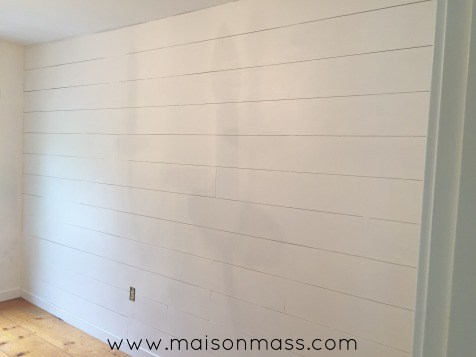 Office Overhaul, faux-shiplap wall