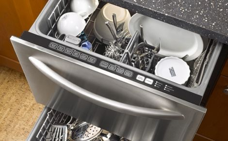 kitchen appliances; dishwasher drawer
