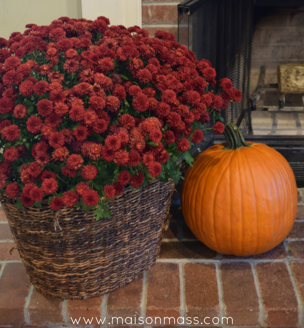 Simple Fall Fireplace Mums