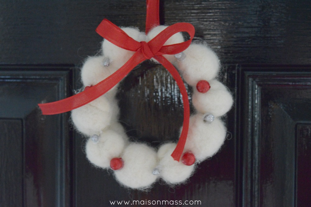 felted wreath black door