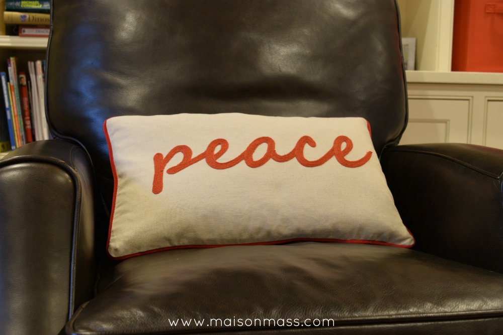 Peace pillow family room
