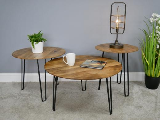 side coffee table round black pin legs raw unfinished wood small
