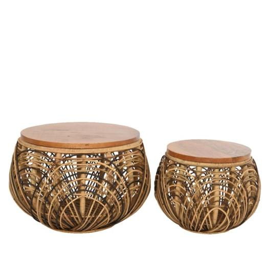 side table rattan round storage table mango wood lid large brown
