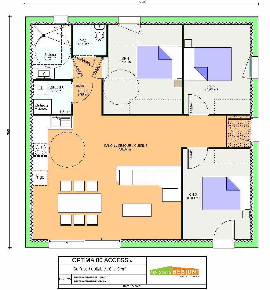 maison 80 m2 plain pied plans prix