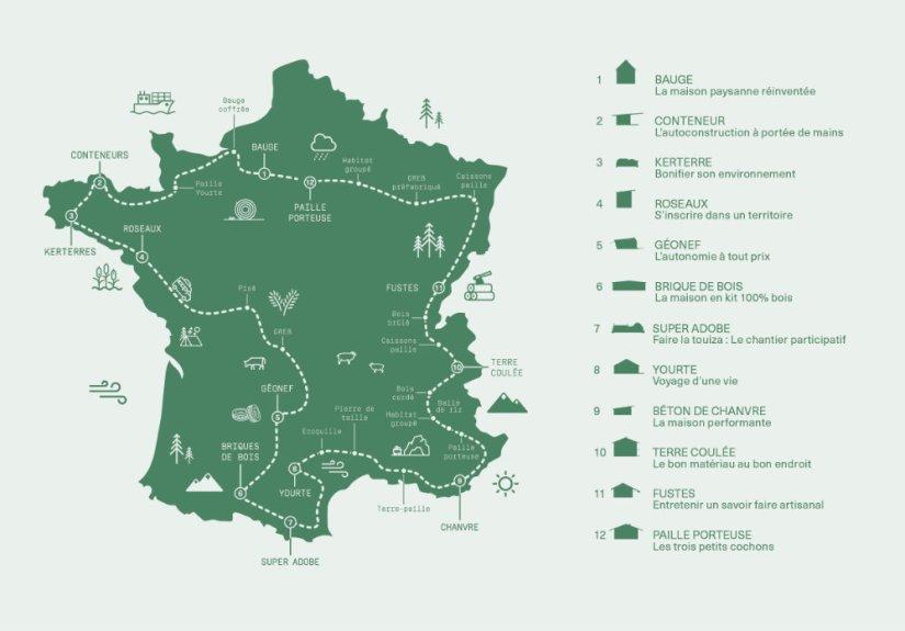 Carte Tour de France des maisons écologiques - Anatomie d'acrchitecture