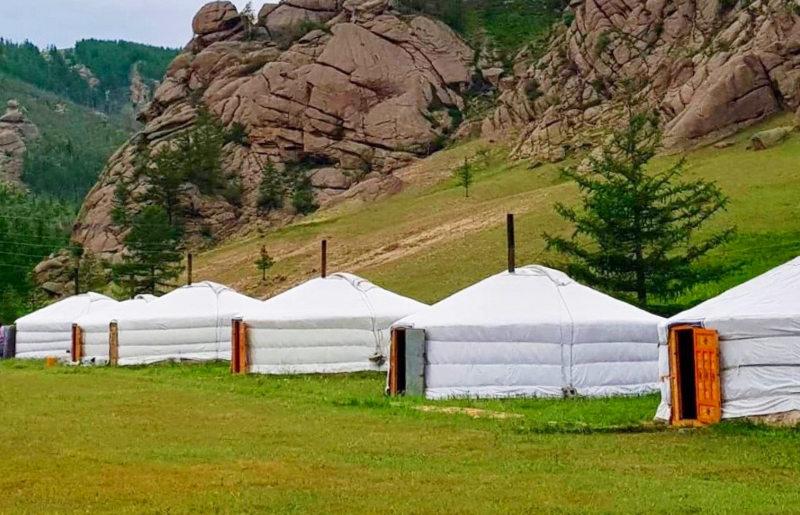 Camp de yourte touristique en Mongolie
