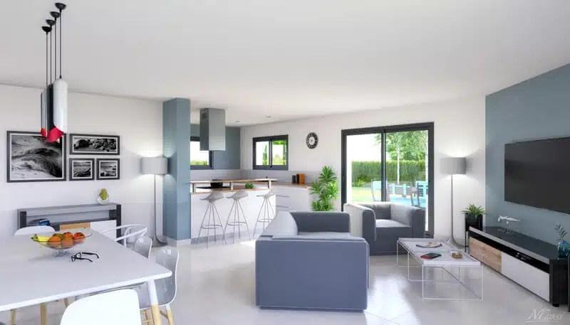 Vue intérieure salon/séjour - maison neuve Emeraude