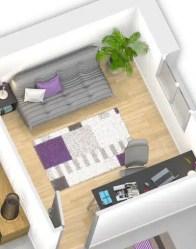 Plan maison 3D - maison avec bureau