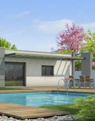 Maison à toit plat avec pergola moderne