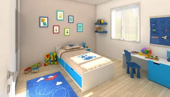Vue 3D chambre enfant - maison contemporaine Spinelle