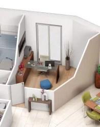 Plan 3D maison Tulipe - vue 3D Bureau
