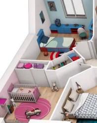 Plan maison 3D gratuit - vue espace nuit