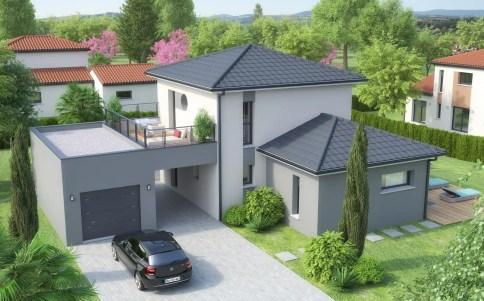 plan maison moderne LODGE - enduit gris