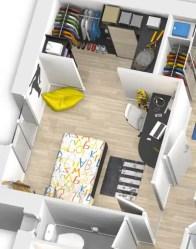 plan maison 3D - chambre avec dressing