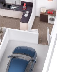 Plan 3D maison en L - garage intégré