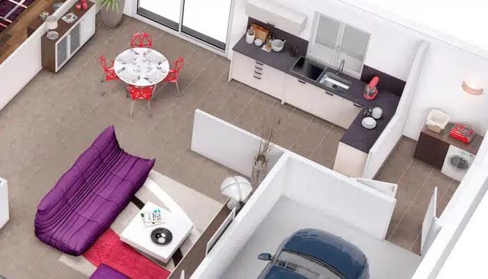 Plan maison 3D - plan maison en L Azalée