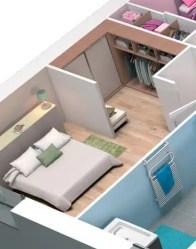 Plan maison 3D - vue 3D chambre avec dressing