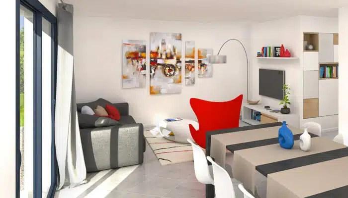 maison toit plat Azur - vue 3D salon