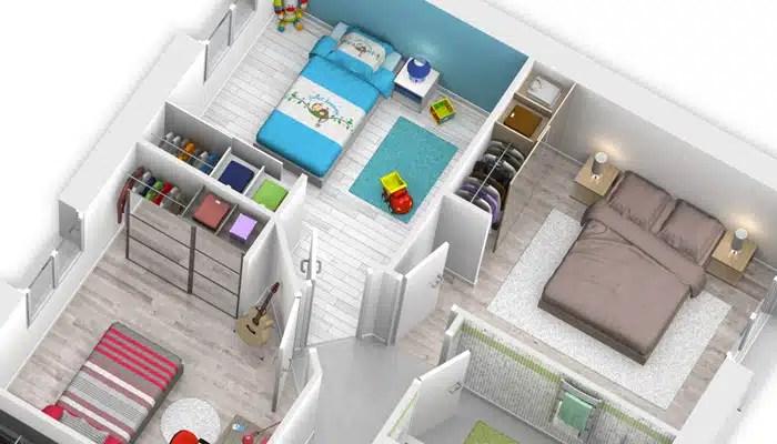 Plan maison 3D - vue partie nuit