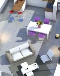 Plan maison en L 3D - salon-séjour