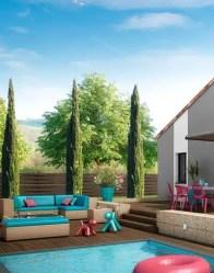 Maison familiale avec jardin en niveaux décalés