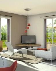 Vue 3D salon/séjour - plan maison familiale
