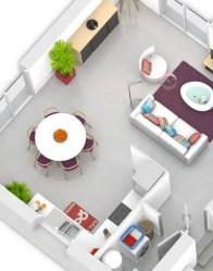 Plan maison 3D - séjour/cuisine