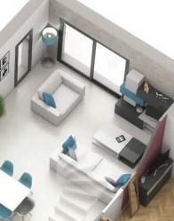 Plan 3D salon - maison toit plat Capucine