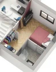 Plan 3D suite parentale - maison toit plat Capucine