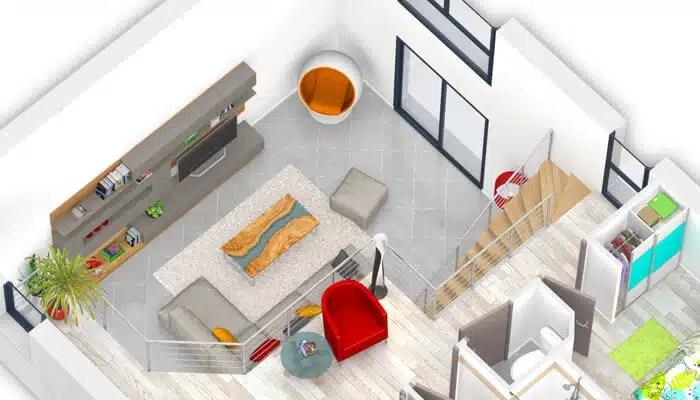 vue salon cathédrale - plan maison 3D