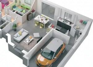 plan maison 3D : pièce de vie en L