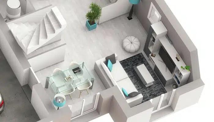 Plan maison 3D Smart - Salon/séjour
